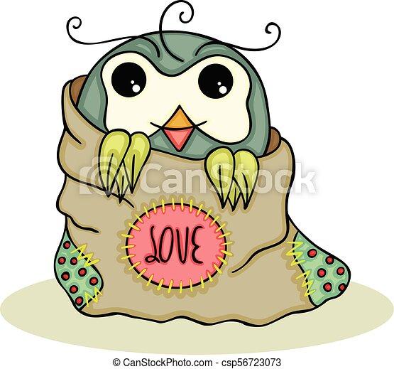 Lindo búho dentro de una bolsa de amor - csp56723073