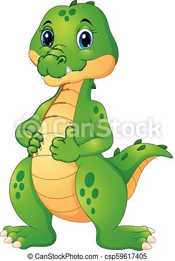Lindo dibujo de cocodrilo dando pulgares arriba - csp59617405