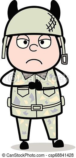 Demonio, lindo hombre del ejército dibujos animados de soldados vector ilustración - csp68841428