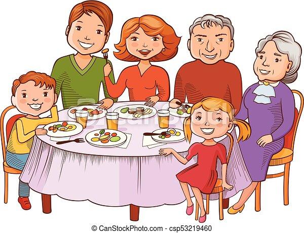 Una linda familia de dibujos animados cenó en la mesa - csp53219460