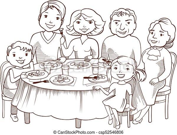 Una linda familia de dibujos animados cenó en la mesa - csp52546806