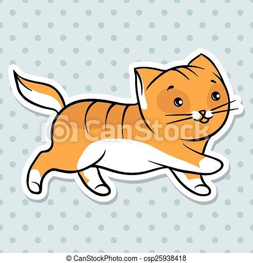 Red lindo gato divertido correr. Ilustración de vectores - csp25938418