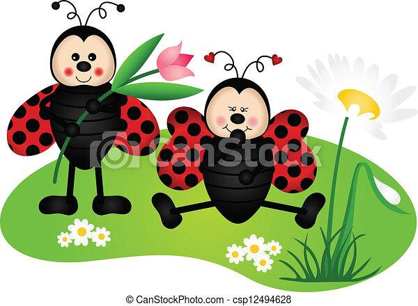 lindo, dos, mariquitas, jardín - csp12494628