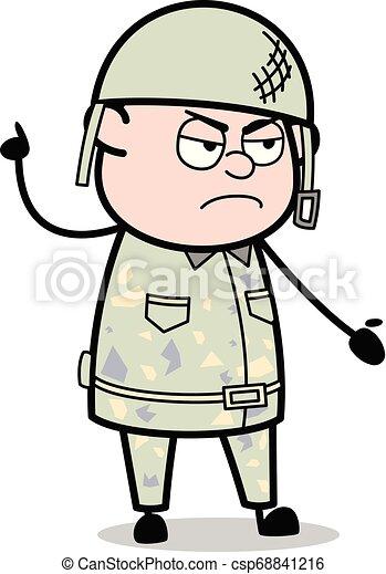 Discusión enfurecida: Ilustración de vectores del soldado del ejército - csp68841216