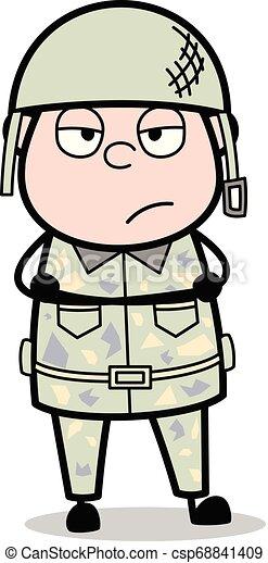 Despreocupado: Hombre del ejército guapo dibujando al soldado vector de ilustración - csp68841409