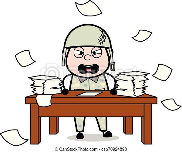 Irritación: Hombre del ejército guapo ilustración de vectores de vectores de soldado de dibujos animados - csp70924898