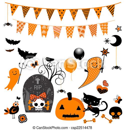 Elementos lindos de Halloween - csp22514478
