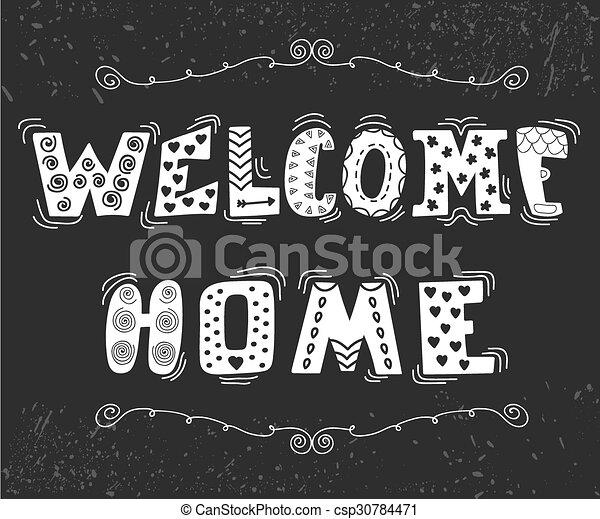 Bienvenidos a casa con lindos elementos de diseño - csp30784471