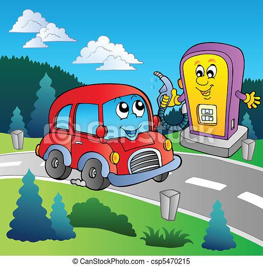 Lindo auto en la gasolinera de caricaturas - csp5470215