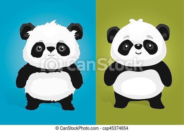 Un lindo set de panda de dibujos animados - csp45374654