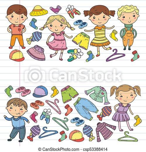 a5f12e0e02a Lindo, Estilo, Conjunto, Niñas, Iconos, Colegiales, Niños, Garabato, Ropa,  Juego, Ropa