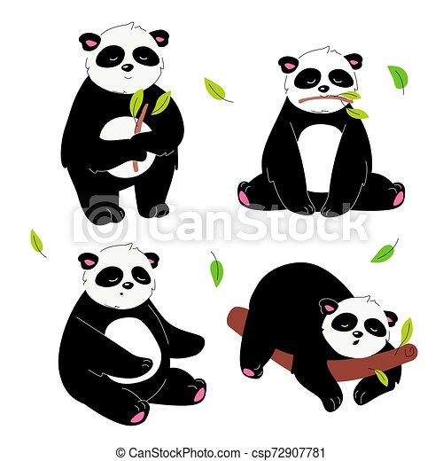 Lindo panda, diseño plano de personajes - csp72907781