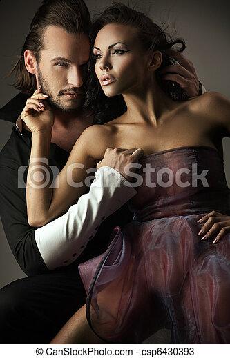 lindo, estilo, moda, pareja, foto - csp6430393