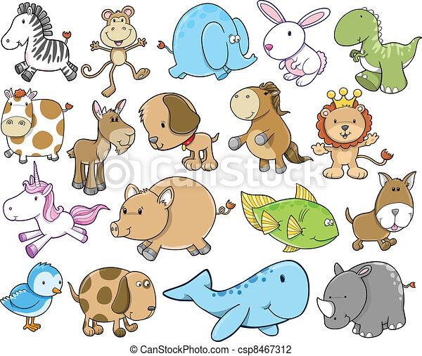 Lindo juego de safaris de animales salvajes - csp8467312