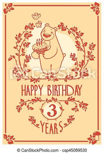 Vector Feliz tarjeta de cumpleaños con lindo oso y pastel. Diseño de invitación. - csp45089530