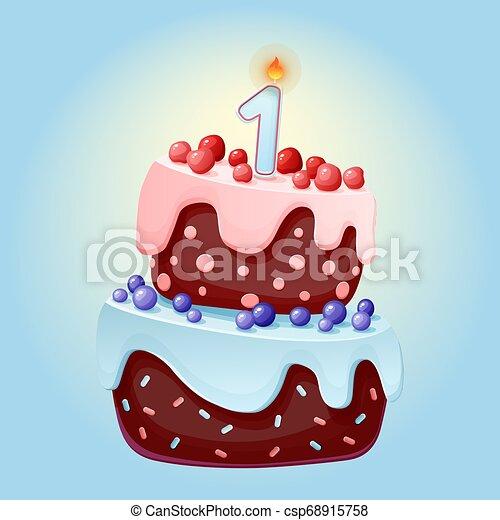 Linda caricatura de un año pastel festivo de cumpleaños con una vela. Galletas de chocolate con bayas, cerezas y arándanos. Para fiestas, aniversarios - csp68915758