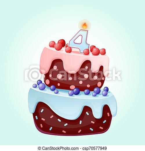 Lindo dibujo animado 4 años pastel festivo con la vela número 4. Galletas de chocolate con bayas, cerezas y arándanos. Para fiestas, aniversarios - csp70577949
