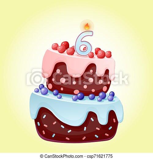 Linda caricatura de 6 años pastel festivo con la vela número 6. Galletas de chocolate con bayas, cerezas y arándanos. Para fiestas, aniversarios - csp71621775