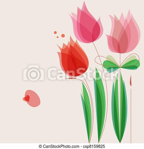 lindo, flores, vector, plano de fondo - csp8159825