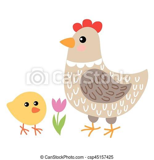 Linda Gallina De Dibujos Animados Y Pollo Aislados En El