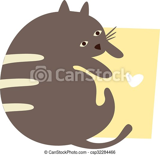 Lindo gato con un cartel de texto - csp32284466