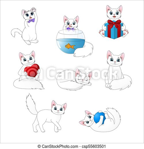 Un grupo de lindos gatos de dibujos animados - csp55603501