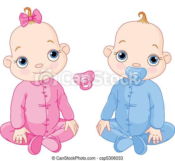 lindo, gemelos, sentado - csp5306033