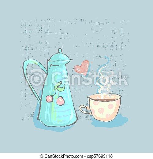 lindo, grunge, plano de fondo, taza, té, infantil, mano, corazón, vector, directamente, tiempo, dibujado, tetera - csp57693118