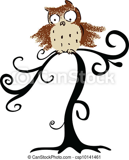 Halloween lindo búho en árbol - csp10141461