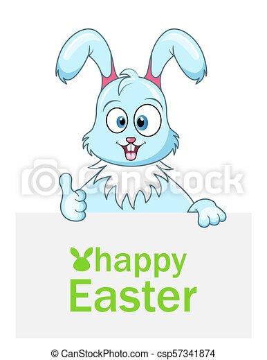 Lindo conejo con hoja de papel para Pascua feliz - csp57341874