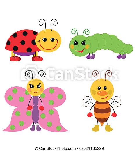 Lindo conjunto de insectos de dibujos animados - csp21185229