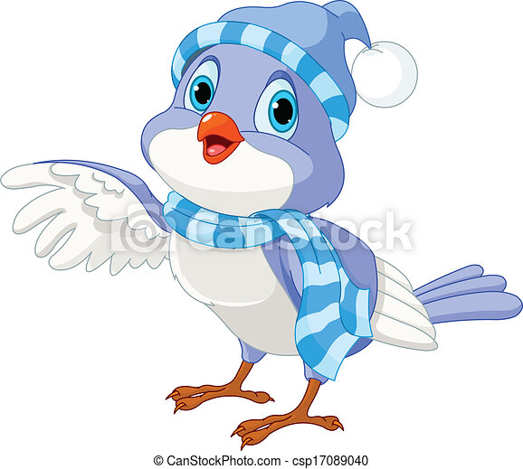 Lindo pájaro de invierno - csp17089040