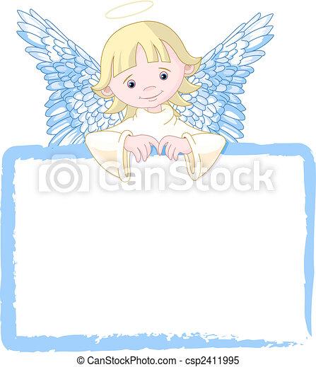 lindo, invitar, ángel, y, tarjeta de lugar - csp2411995