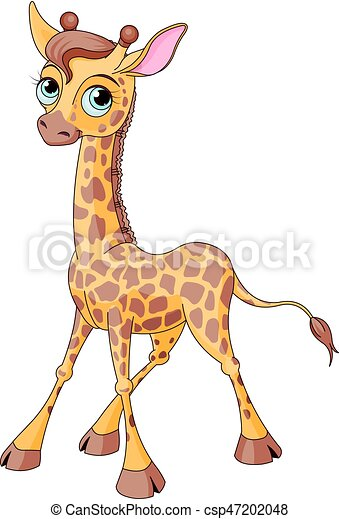 Lindo, jirafa. Lindo, poco, becerro del giraffe, ilustración.