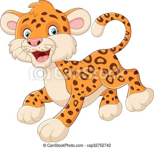 Lindo leopardo de dibujos animados - csp32752742