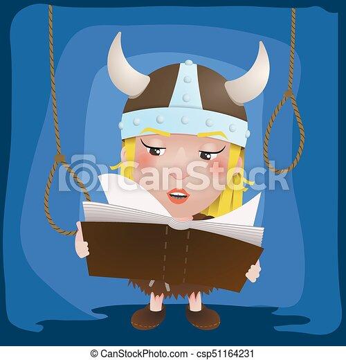 Linda chica de dibujos animados vikinga. Guerrero medieval con libro. Personaje - csp51164231