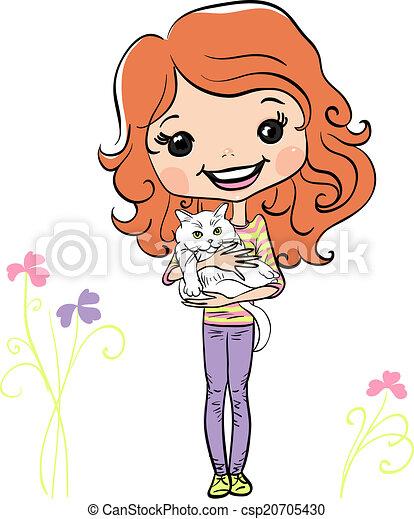 Vector moda hipsterl chica linda con gatito - csp20705430
