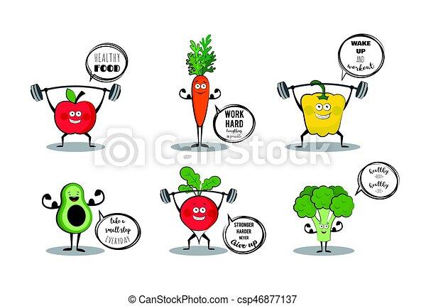 lindo, motivación, conjunto, vegetales, quotes., fruits, deporte -  csp46877137
