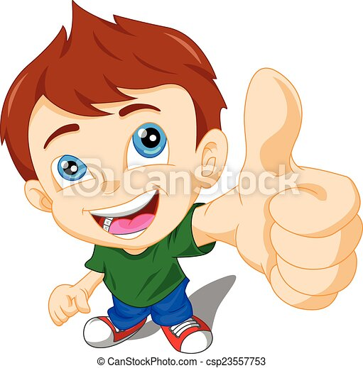 Un niño lindo dándote pulgares - csp23557753