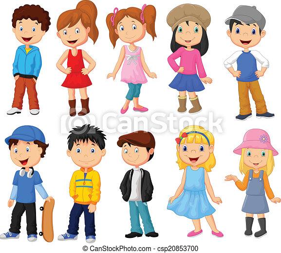 lindo, niños, colección, caricatura - csp20853700