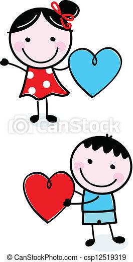 Lindos chicos con figuras de palo sosteniendo corazones de San Valentín - csp12519319