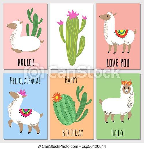 Lindas Tarjetas De Invitación Para Niños Mexicanos Alpacas
