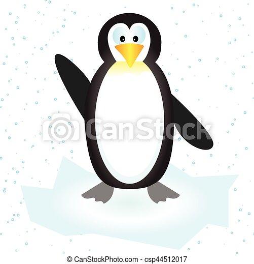 Ilustración vectorial de un lindo pingüino en el témpano de hielo con nieve - csp44512017