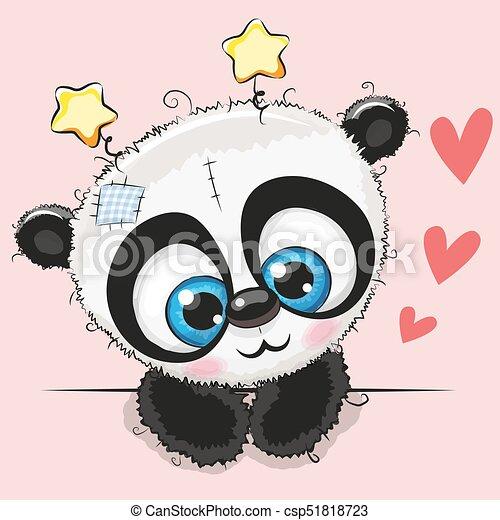 Lindo Panda De Dibujos Animados Con Ojos Grandes Lindo