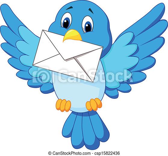 lindo, pájaro, caricatura, carta, entregar - csp15822436