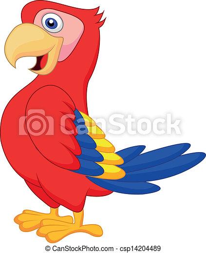 Lindo dibujo de pájaro loro - csp14204489