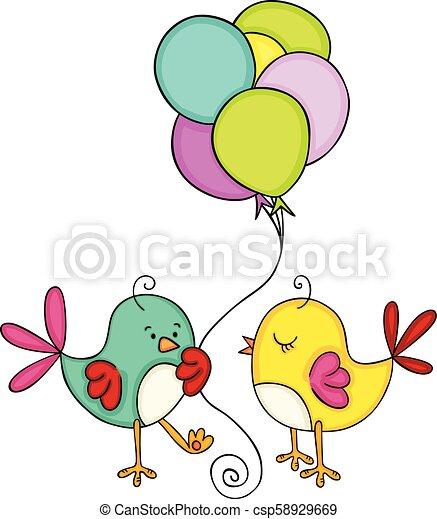 Linda pareja de pájaros con globos - csp58929669