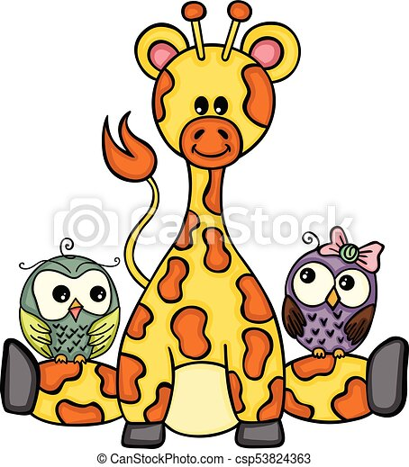 Bonita jirafa con un par de búhos - csp53824363