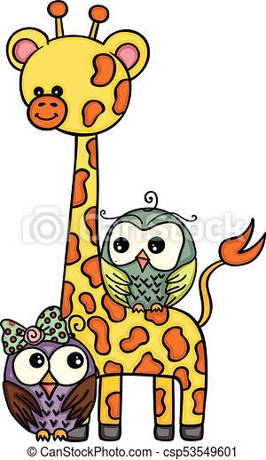 Bonita jirafa con un par de búhos - csp53549601