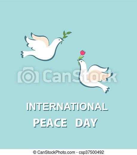 Linda tarjeta de felicitación para el Día de la Paz Internacional con un hermoso par de palomas - csp37500492